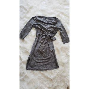 Ann Taylor Black and Silver Wrap Dress Size S
